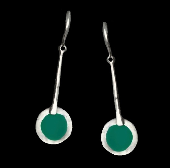 925 Sterling silver resin dangling earrings. 6 cm. 1990s