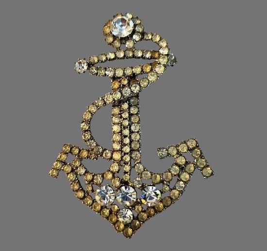 Anchor brooch. Metal alloy, rhinestones