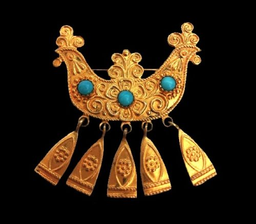Ancient Rus boat brooch. Gold tone metal, turquoise. 4 cm. 1960