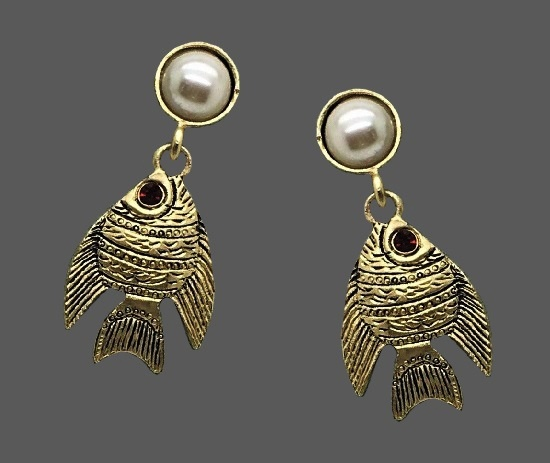 Angelfish dangle earrings. Gold tone textured metal, faux pearls. 1995