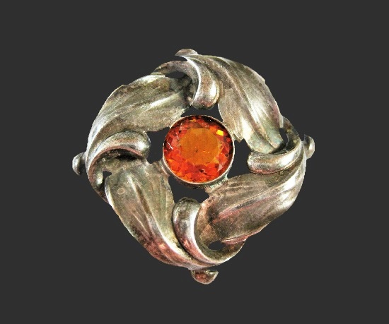 Antique silver citrine brooch
