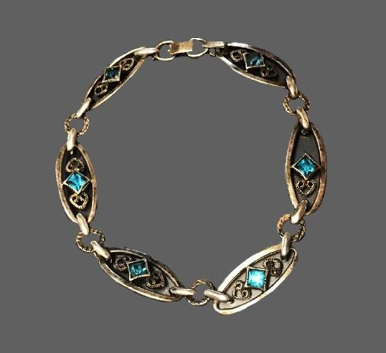 Aquamarine sterling silver bracelet. 1940s