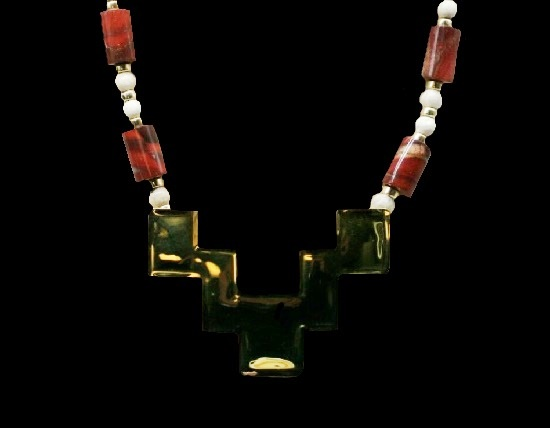 Art glass gold plated necklace. 1992