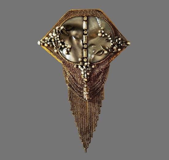 Aurora Borealis crystals, mother of pearl gold tone pendant