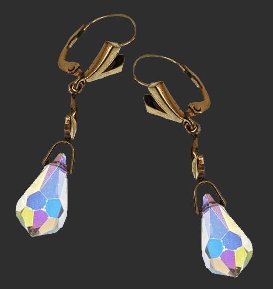 Aurora borealis crystal gold plated earrings