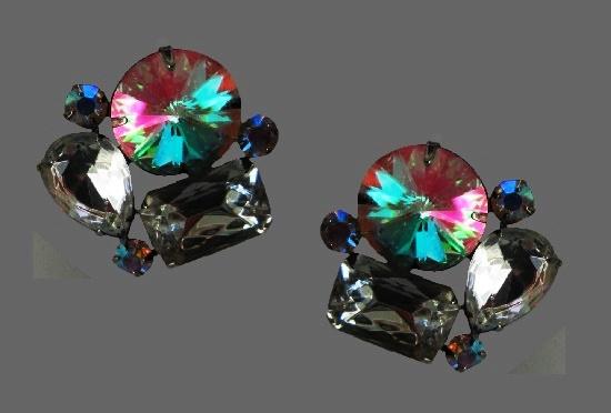 Aurora borealis rhinestones gun metal floral design earrings