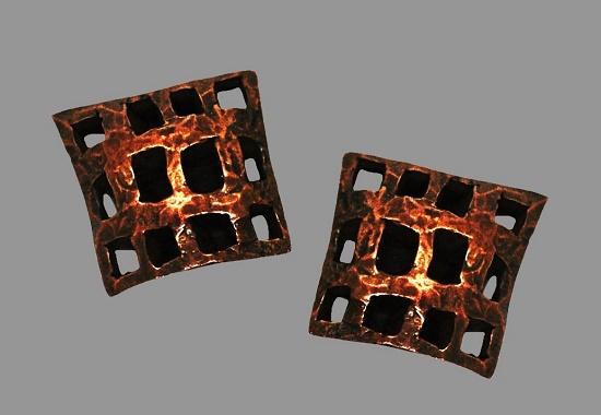 Avant Garde design grid earrings. Copper. 1990s