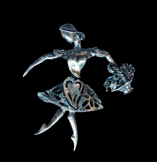 Ballerina with basket of flowers sterling silver brooch. 1940s
