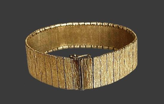 Bark texture gold bracelet. 1960s