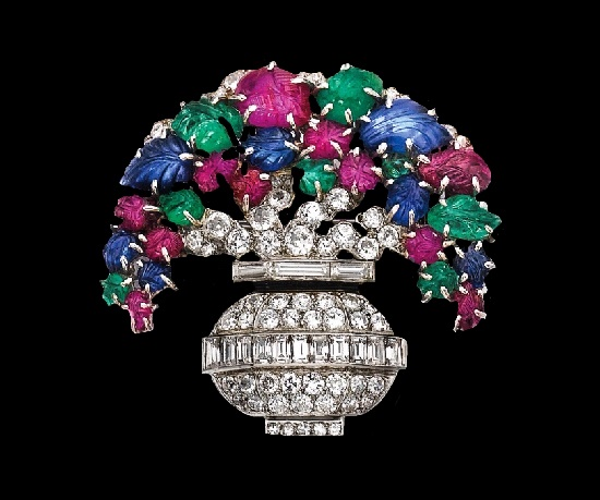 French jewelry company Lacloche Freres. Basket of flowers brooch. Platinum, rubies, emeralds, sapphires, diamonds. 1920