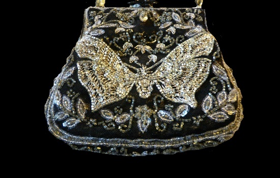 Beaded Butterfly Clutch Handbag