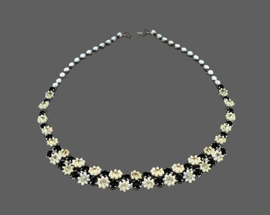 Black and white floral necklace. Metal alloy, rhinestones, plastic