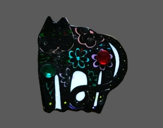 Black cat with floral patterns pin brooch