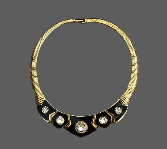 Black enamel gold tone clear rhinestone necklace choker. 1980s
