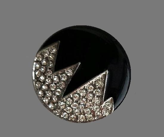 Black enamel rhinestones round clips. 3.5 cm. 1980s