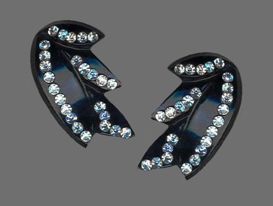 Black plastic rhinestones clip on earrings
