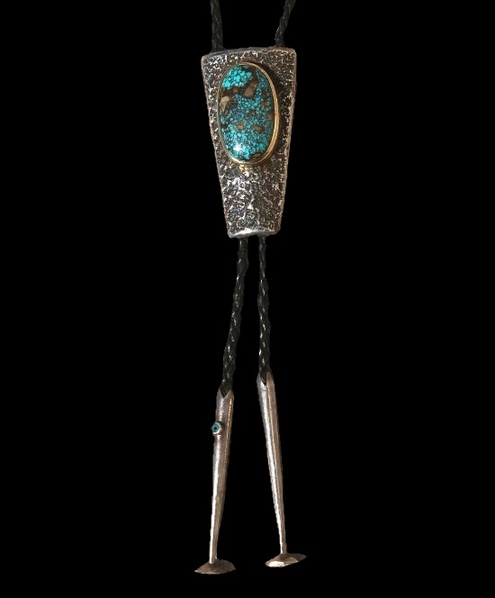 Blue Turquoise 14 K gold Bolo Tie
