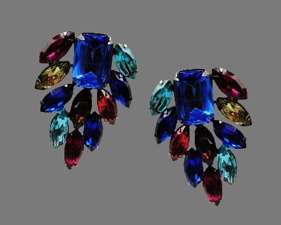 Blue and green rhinestone clip on earrings