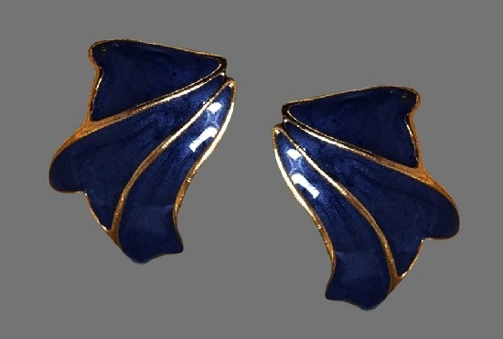 Blue enamel gold rim clip on earrings