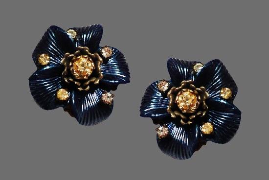 Blue flower clip on earrings. Silver tone metal, enamel, rhinestones