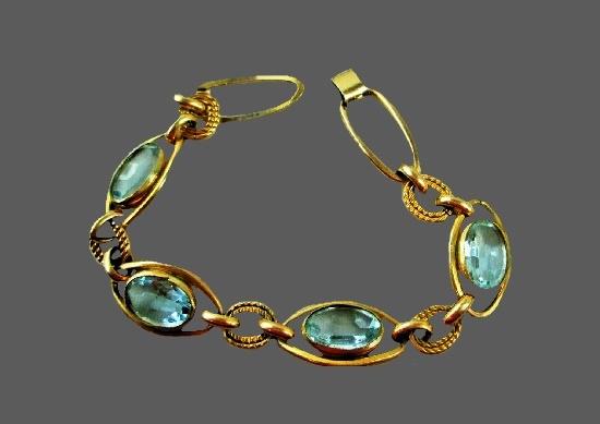 Blue rhinestone gold filled bracelet