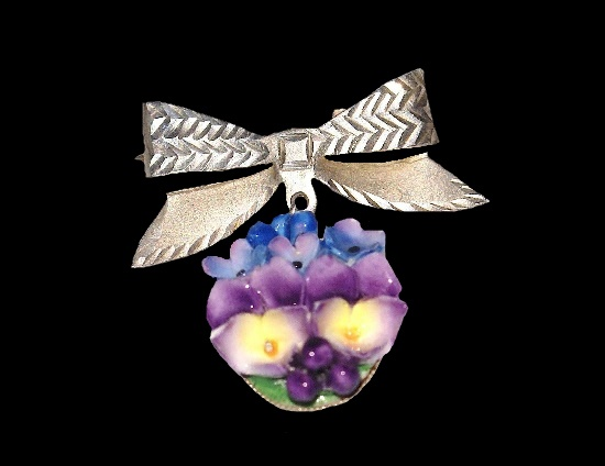 Bow and bouquet of flowers dangling brooch. Sterling silver, bone china, hand painted. 1960s