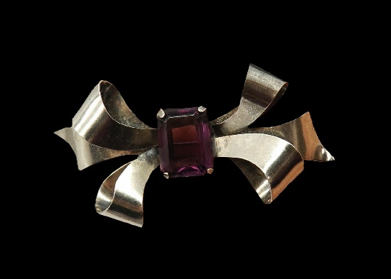 Bow brooch. 925 sterling silver, amethyst glass