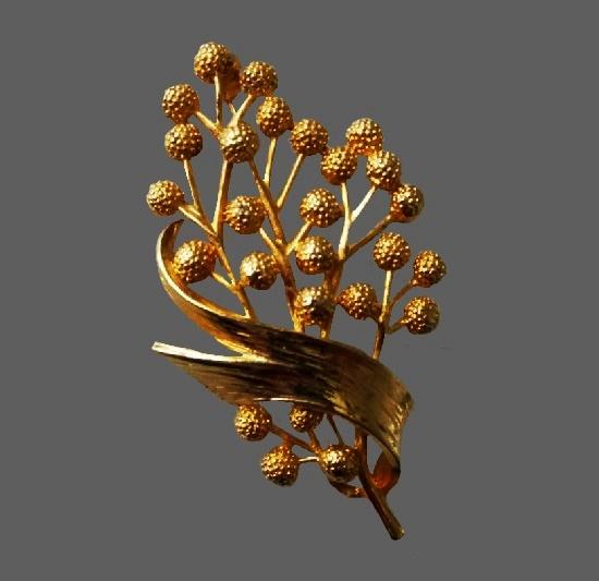 Branch gold tone brooch