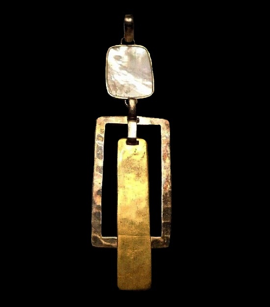 Brass sterling silver mother of pearl modernist design pendant