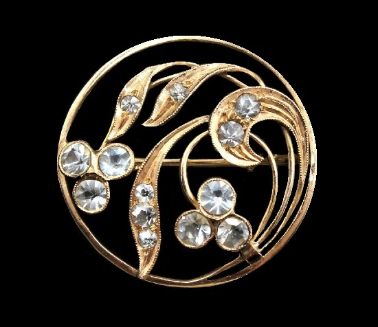 Circle floral design brooch from 14 karat gold with natural accents - rhinestone or topaz. 3 cm. Russian gems, Moscow, 1956
