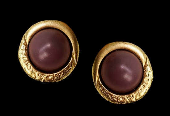 Brushed gold tone clip on earrings
