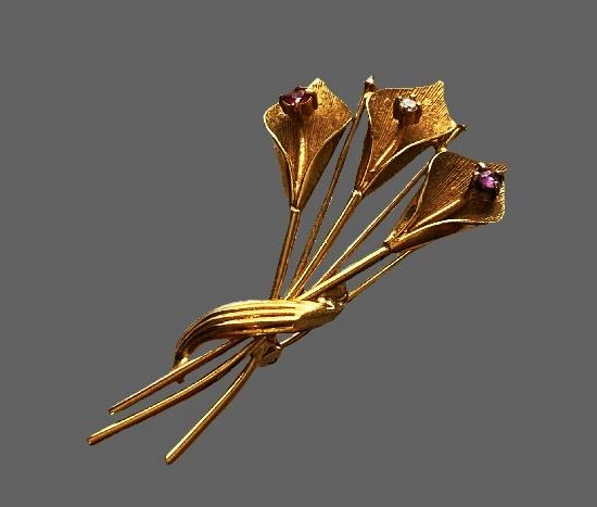 Calla Lily brooch. 12 K gold filled metal alloy, rhinestones