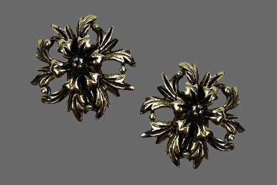 Carnation flower silver tone clip on earrings