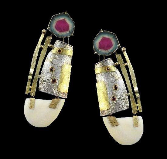 Caroline Strieb 22k Gold sterling silver tourmaline earrings. 1983
