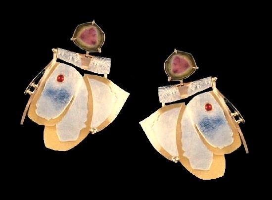Caroline Strieb. Chrysanthemum earrings. Sterling silver, 14k and 22k golds, watermelon tourmaline. 1984