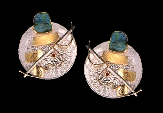 Earrings. Sterling silver, 18k and 22k golds, opals, rubies. 1986