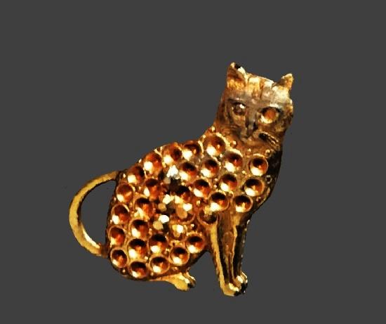 Cat gold tone charm