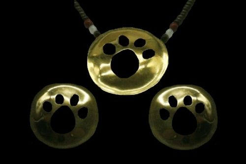 Cat paw design gold plated necklace and earrings. 1994
