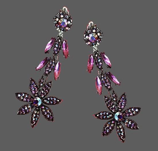 Chandelier floral design clip on earrings. Silver tone metal, aurora borealis rhinestones
