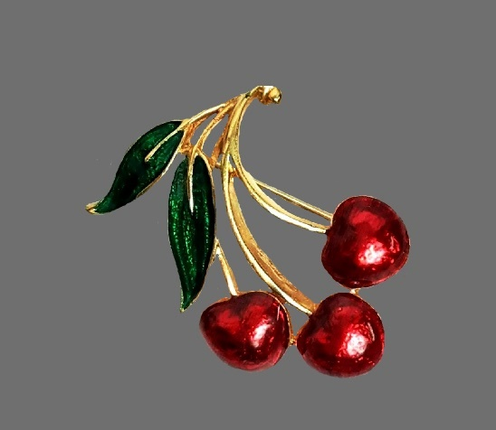 Cherry gold tone enamel brooch