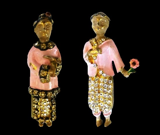 Chinese woman and man paired pins. Gold tone metal alloy, rhinestones, enamel. 1940s