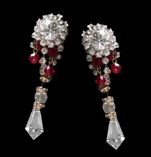Clear and ruby crystal dangle earrings. 1970s