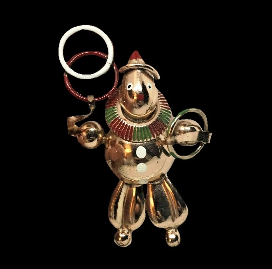 Clown juggling rings 1940s brooch. Sterling silver, enamel