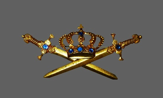 Crown and Swords yellow gold blue crystals brooch
