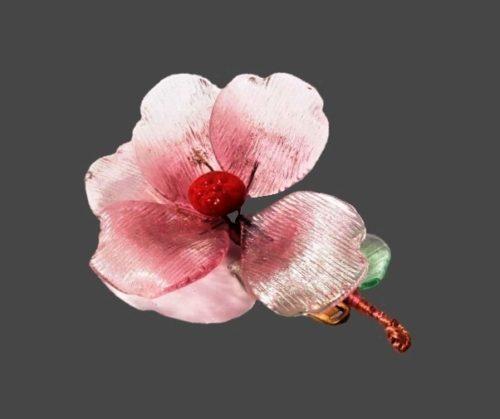 Delicate pink flower brooch. Art glass, 5 cm
