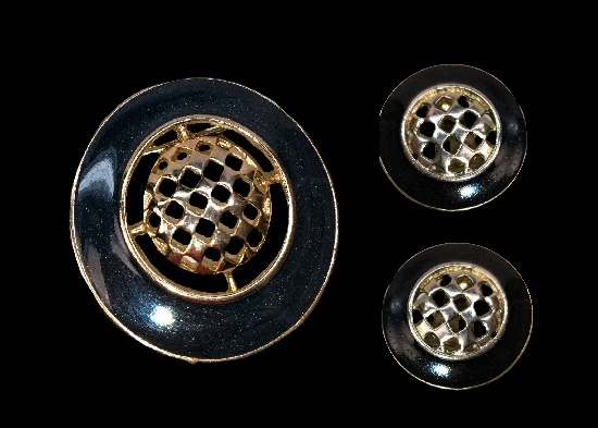 Demi parure pendant brooch clip. Gold plated, black enamel