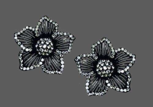 Dogwood flower blackened silver tone rhinestones earrings