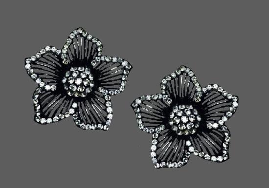 Dogwood flower blackened silver tone rhinestones earrings