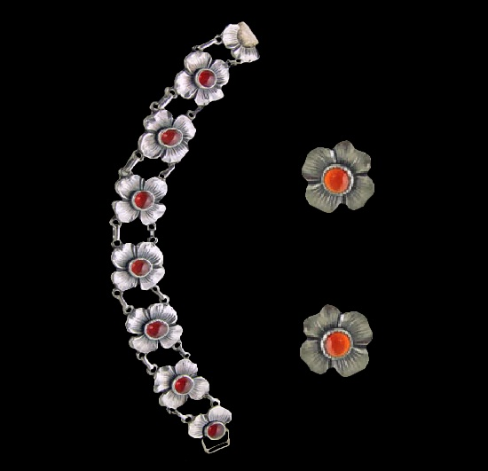 Dogwood flower bracelet and clip on earrings. 925 sterling silver, orange stone