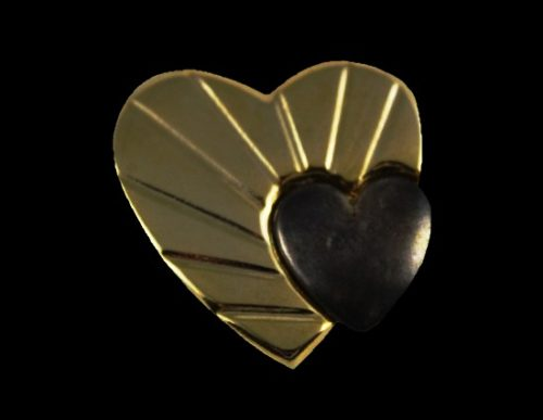 Double heart gold tone black resin brooch. 1980s